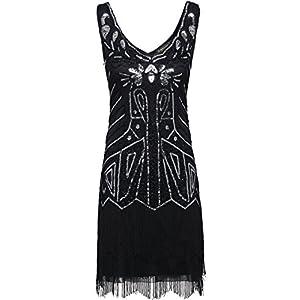 BABEYOND Women's Flapper Dresses 1920s V Neck Beaded Fringed Great Gatsby Dress (Large, Black)
