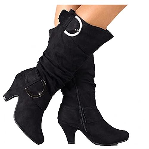 Binggong Damen Hohe Stiefel High Heels Klassische Stiefel mit Blockabsatz Profilsohle Elegant Winterstiefel mit Schnalle Winterschuhe Mode Elegante Outdoor-Stiefel Langschaft Boots