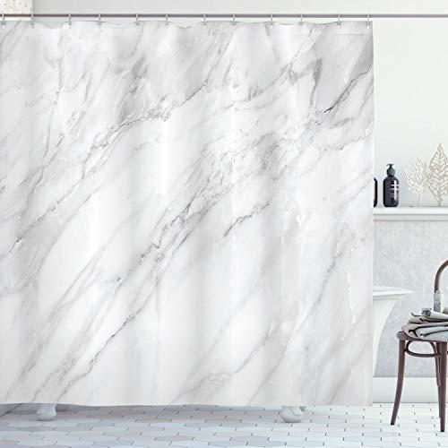 ABAKUHAUS Marmor Duschvorhang, Monochromer Boden, Moderner Digitaldruck mit 12 Haken auf Stoff Wasser und Bakterie Resistent, 175 x 180 cm, Weißes, helles Grau