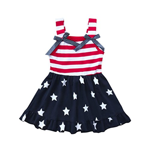 Minisoya Toddler Kids Baby Girls 4th of July Outfit Princess Beach Sundress Cute Bowknot Stars...