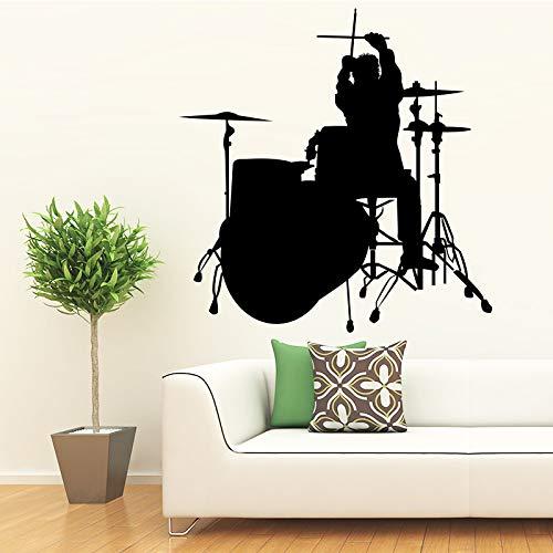 ONETOTOP - Adhesivo decorativo para pared, diseño de música musical con batería para habitación infantil, 43 x 44 cm