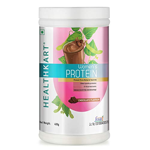 NOURIZA Healthkart Women's Protein with Calcium, Iron and DHA, Chocolate, 400 g