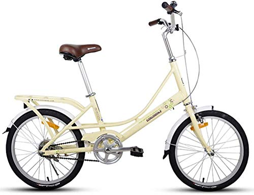 GJZM Mountainbikes Erwachsene 20 Falträder Leichtes Faltrad mit Gepäckträger Single SpeedFaltbares Kompaktfahrrad Aluminiumlegierung Rahmen Hellgrün-Hellgelb