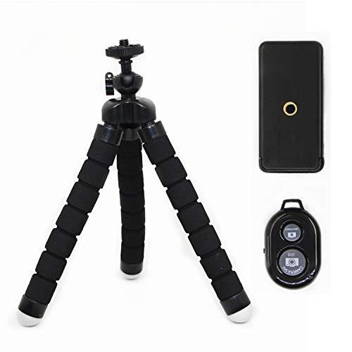 スマホ 三脚 カメラ 自由雲台 ミニ くねくね三脚 iPhone Android 一眼レフ デジカメ ビデオ カメラ プロジェクター Bluetooth リモコン付き 自撮り 360度回転 (M&Boo)