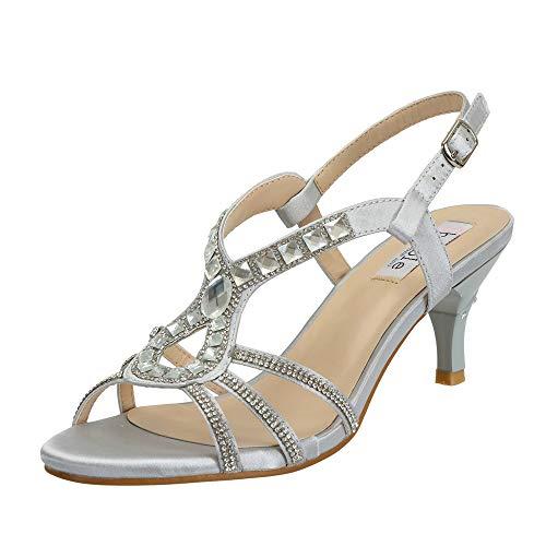 SheSole Damen Sandaletten – Klassische Damen-Schuhe mit Strasssteinen, modische Riemchensandalen als High-Heels mit Absatz, Farbe Silber