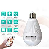 YWT Panoramic Bulb Camera 360 Degree Smart WiFi, 1080P HD Security Surveillance Camera with Infrared, Night Vision, Two-Way Audio, Support 128G SD Card