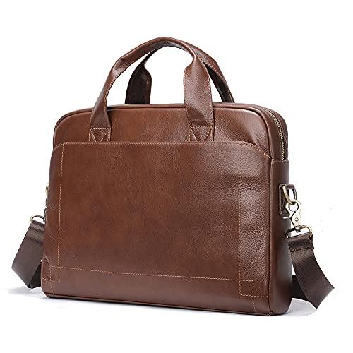 Herren-Lederhandtasche, Aktentasche aus Leder der ersten Schicht, horizontale 14-Zoll-Laptoptasche, Umhängetasche-Braun