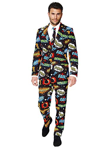 Opposuits Badaboom Suit For Men Comes With Jacket, Pants and Tie In Funny Comic Book Print-100%, Badaboom, 36