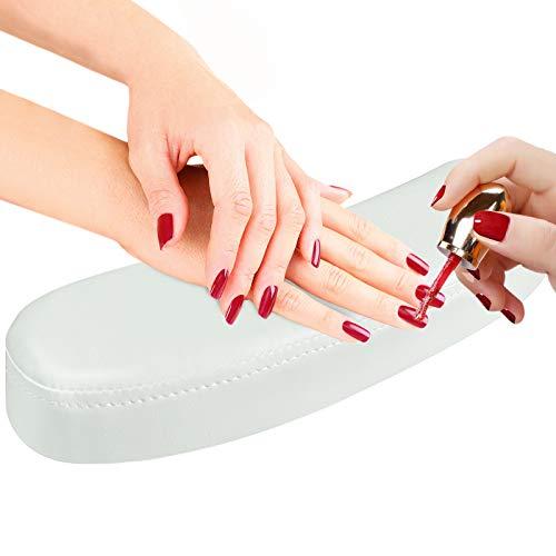 EBANKU Nagel Handauflage Kissen Pu Leder Nail Art Kissen Handauflage Armauflage Handkissen Weiche Schwamm NagelKissen Pflege Zubehör (Weiß)