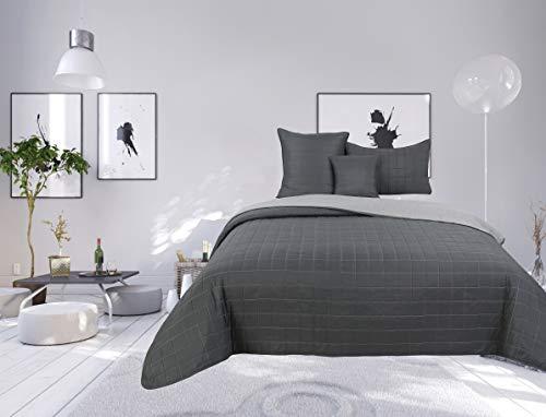 Colcha bouti de 4 piezas, bicolor con diseño de cuadros para cama de 1 plaza (acero/silver, 4 piezas, bicolor cama individual)