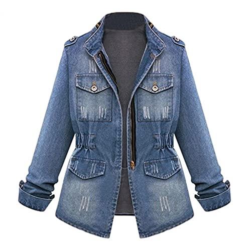 SHOBDW Camisetas Invierno Chaqueta Mujer 2021 Liquidación Saco Vaquero Venta Moda Básico Tops Retro Moda Suelto Tallas Grandes Otoño Tops Otoño Camisas S-2XL(Azul,XXL)