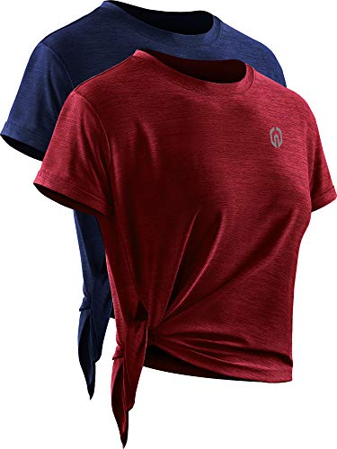 Neleus Women's Quick Dry Athletic Workout Shirt Yoga Top,8056,2 Pack,Navy/Red,US S,EU M