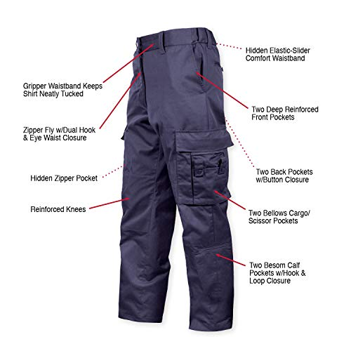 Rothco Deluxe EMT (Emergency Medical Technician) Paramedic Pants, Navy Blue, 38