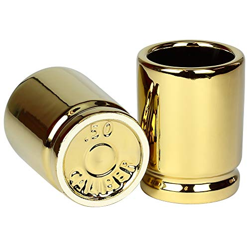The Original 50 Cal Shot Glass, Set of 2 Shot Glasses Shaped like 50 Caliber Bullet Casings – Each Shot Holds 2 Ounces