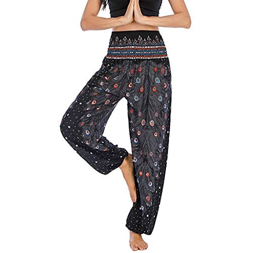 YWSZJ Pantalones de Yoga Casuales de Damas, Ropa de Trabajo Suelto, Pantalones de Cintura Alta, Pantalones de Yoga Sueltos y cómodos (Color : Black)