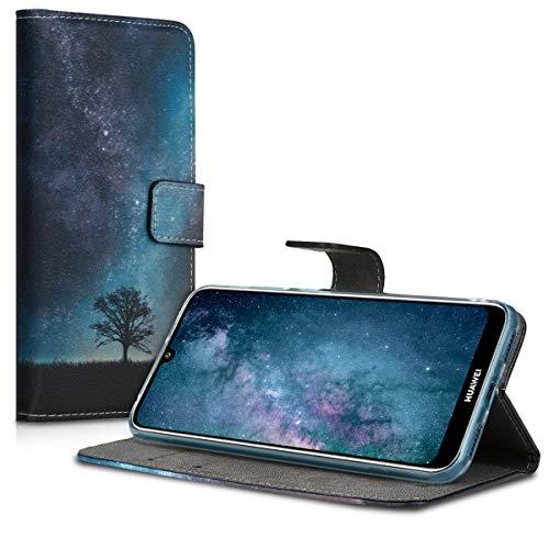 kwmobile Huawei Y6 (2019) Hülle - Kunstleder Wallet Case für Huawei Y6 (2019) mit Kartenfächern und Stand - Galaxie Baum Wiese Design Blau Grau Schwarz - 5
