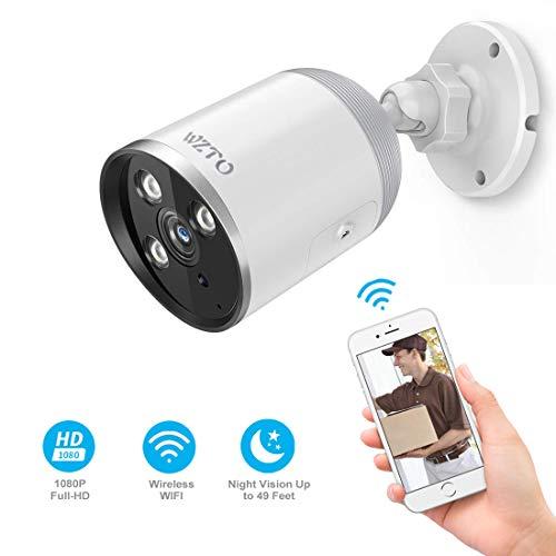WZTO Camaras de Vigilancia WiFi Exterior, Cámara IP Wi-Fi HD 1080P Inalámbrica Visión Nocturna por Infrarrojos de hasta 98 Pies con Detección de Movimiento Impermeable, Tarjeta SD 128G
