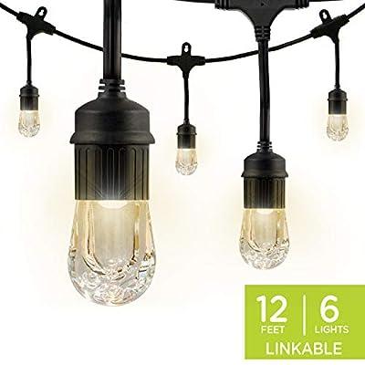 Enbrighten Classic LED Cafe String Lights, Black, 12 Foot Length, 6 Impact Resistant Lifetime Bulbs, Premium, Shatterproof, Weatherproof, Indoor/Outdoor, Commercial Grade, UL Listed, 31660