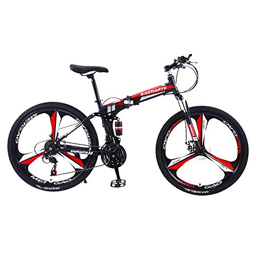 Ninasill Adult Folding Mountain Bikes 26 Inch Mountain Trail Bike High Carbon Steel Full Suspension Frame Bicycles 21 Speed Gears Dual Disc Brakes Mountain Bicycle - US Stock