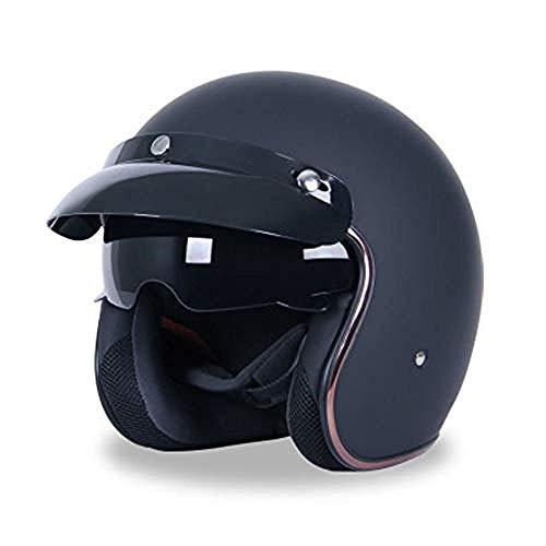 Motorräder Jet Helm - Retro Motorradhelm mit Sonnenblende Jethelm Motorrad Scooters Roller Elektrofahrzeuge Open-Face 3/4 Halberhelm für Erwachsene Männer Frauen@B_M