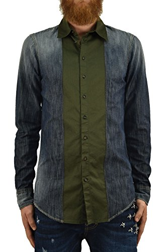 DSQUARED2 Camisa vaquera para hombre azul con detalles de tela casual de algodón con botones y correas, talla IT46-IT50 azul oscuro 46
