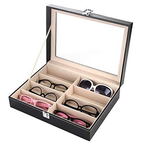LULUVicky Los organizadores Cajas Cuero de la PU 8 Rejillas Gafas Gafas Gafas de Sol Caja de Vidrio Pantalla Superior Estuche de Almacenamiento Organizador Negro Mostrar Organizador Caso Titular