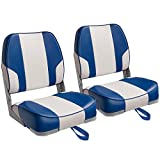 Leader Accessories A Pair of New Low Back Folding Boat Seats(2 Seats) (C-White/Blue)