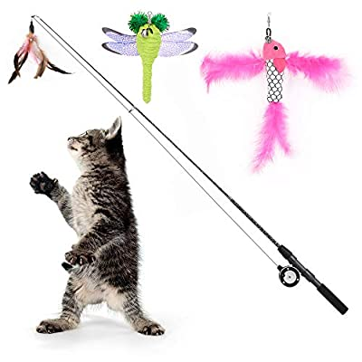 Pawaboo Cat Feather Teaser Wand Toy, 4 Pack Interactive Telescopic Rod Fishing Pole Wand Catcher Exerciser with Assorted Refills Fish/Dragonfly Worm/Feather, Fun Cat Kitten Kitty Play Toy with Bells
