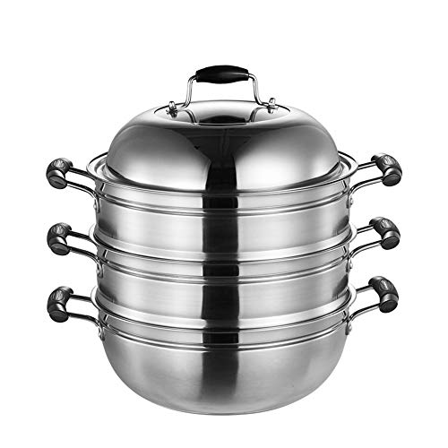 Stainless Steel Steamer, YQAD Chinese 2-3 Tier Thicken Vegetable Steamers Induction Cooker Universal/Pans With Lid-B-36cm