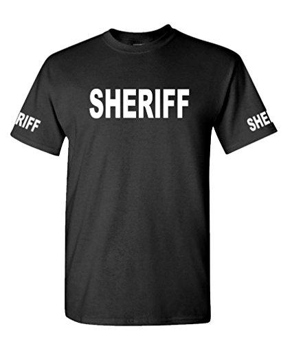 The Goozler Sheriff - Law Enforcement Duty Police cop - Mens Cotton T-Shirt, L, Black