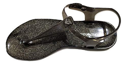 Emporio Armani Sandale mit Zehentrenner aus PVC, für Damen, X3QS06 XL816 (Black-Glitter, 39)