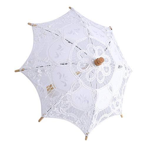 Encaje paraguas Vintage boda encaje bordado algodón puro Lady novia boda sombrilla paraguas decoración Photo Props, Blanco, Large