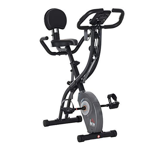 homcom Cyclette Pieghevole con Schienale, Spin Bike con Bande Elastiche, Spinning Cyclette con Display LCD Grigia