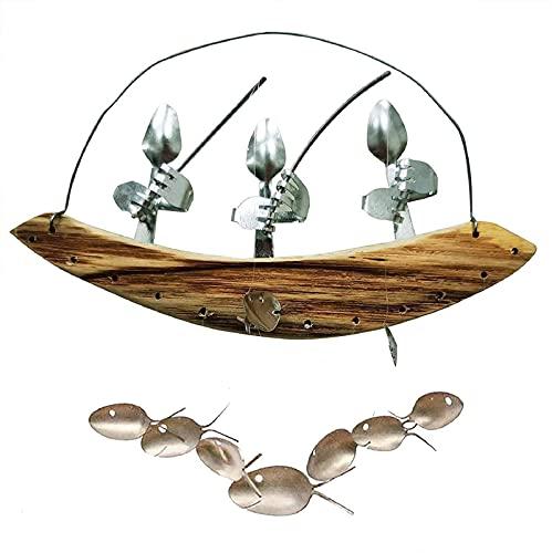 XTONG Cubiertos Hombre Cuchara De Pesca Esculturas De Peces CarillóN De Viento Colgante, Campana De Viento De Pescador Barco De Madera Ornament 3 Personas