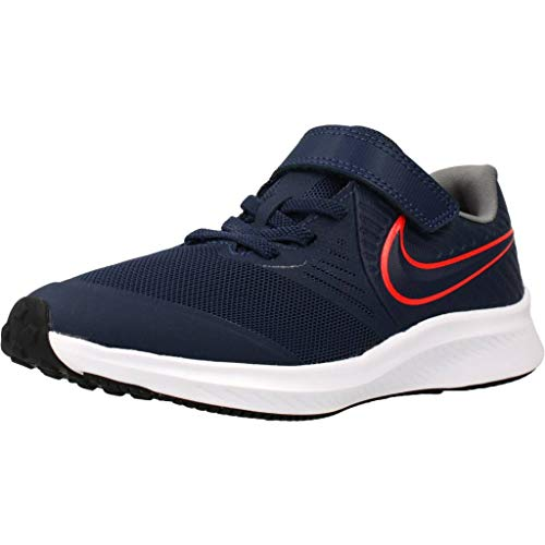 Nike Star Runner 2 (PSV), Zapatilla de Correr, Medianoche Navy/Bright Crimson/Smoke Grey, 35 EU