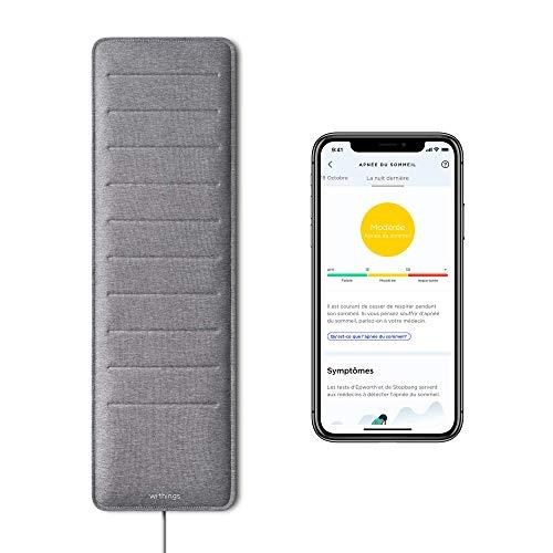 Withings Sleep Analyzer - Capteur de Sommeil sous Matelas, Validé Cliniquement avec Détection de l'Apnée du Sommeil et Analyse des Cycles de Sommeil