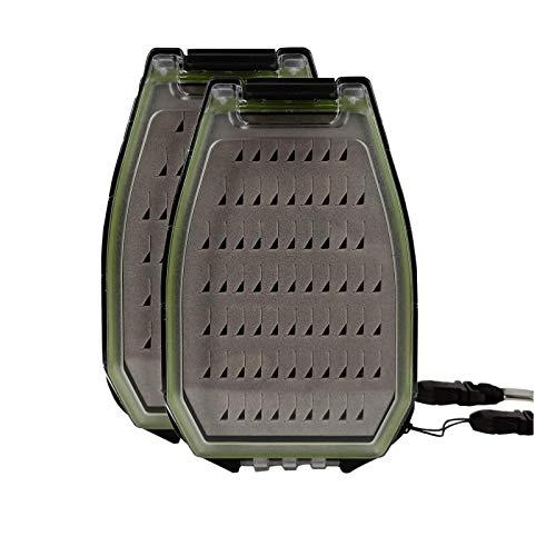 Aventik 2pcs Unique Shape Smart Size Double Side Waterproof Fly Box 4.53X3.15X1.5inch (Foam B)