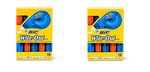 BIC Wite-Out Brand EZ Correct Correction Tape, White, 10-Count - 2 Pack
