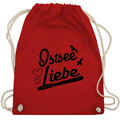 Shirtracer Statement - Ostsee Liebe - schwarz - Unisize - Rot - Spruch - WM110 - Turnbeutel und Stoffbeutel aus Baumwolle