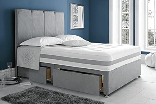 Grey Suede Kind Size Divan Bed with Mattress and Headboard and 2 Storage Drawers - 5FT King Size Bed with mattress and Matching Headboard (5FT Divan Bed with 2 Drawers)