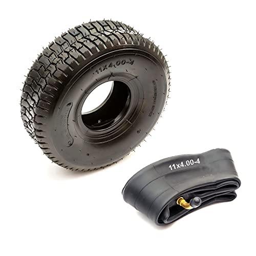 Tyre & Inner Tube 11x4.00-4 4 Ply Chevron Turf Tread Fits 4' Inch Wheel Ride On Lawn Mower