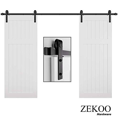 ZEKOO 11 FT Black Steel Antique Interior Double Sliding Barn Door Hardware Pulls Wood Door Kit