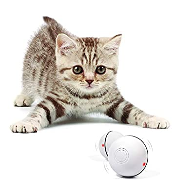 YOFUN Smart Interactive Cat Toy - Newest Version 360 Degree Self Rotating Ball, USB Rechargeable Wicked Ball, Build-in Spinning Led Light, Stiulate Hunting Instinct for Your Kitty (White) m from Y YOFUN