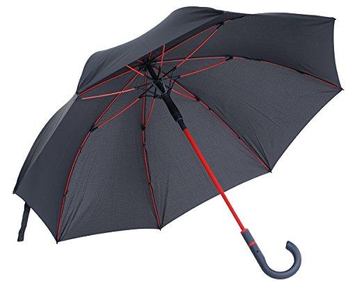 vanVerden - Automatik Regenschirm - Sturmfest (TÜV geprüft), Windfest, Leicht, Stabil - Fiberglas Rahmen 112cm Durchmesser, 90cm Länge, Farbe:Anthracite/Red