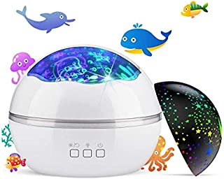 Beauenty Night Light Projector,Delicacy 2 in 1 Ocean Undersea Lamp and Starry Sky Projector, 360° Rotating 8 Colors Mode L...