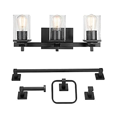 Globe Electric 51634 Dakota 5-Piece All-in-One Bathroom Set 3 Vanity Light with Seeded Glass Shades, Bar, Toilet Paper Holder, Towel Ring, Robe Hook, Matte Black