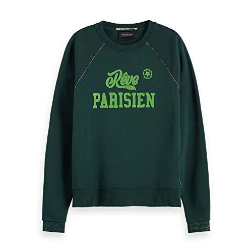 Scotch & Soda Maison Damen Crewneck Sweat with Bold Artwork & Lurex Piping Sweatshirt, Grün (Forest Green 2447), Small (Herstellergröße: S)