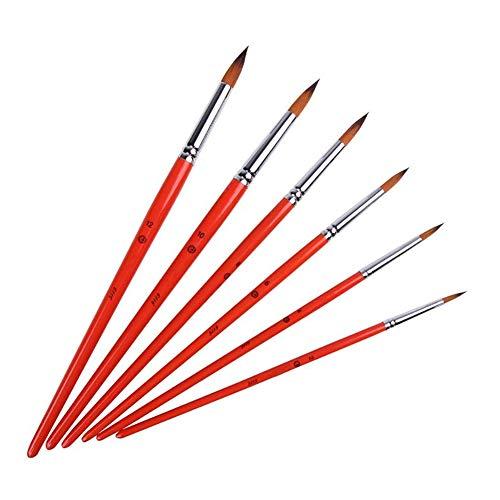 6 PCS Aquarelle Gouache Pinceaux Nylon Peinture Brosse à cheveux ronde à aquarelle professionnelle Peinture Pinceaux Art Supplies - Rouge