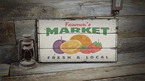 Ced454sy Bauernmarkt-Schild, Obstmarkt-Dekoration, Markt-Dekor, Markt-Dekor, Holz-Verkaufs-Dekoration, Holz-Lodge-Dekor – alte Holzschilder Dekor