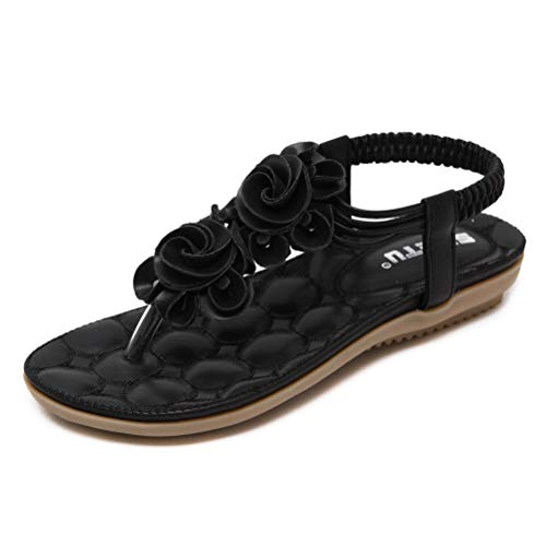 Tianmao Damen Sandalen Gummisohle Flip Flops Weich Sommerschuhe Blume Strandschuhe Zehentrenner (40 EU, Schwarz)